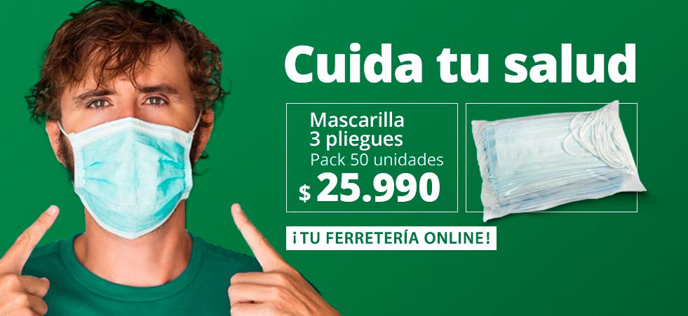Mascarrilla 3 pliegues pack 50 unidades. Cuida tu salud. ¡Tu Ferretería Online! Chilemat